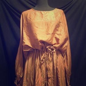 Ruffled sleeve copper dress